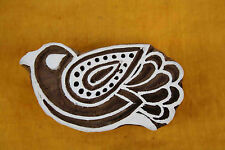 Bird Wood Block Art Decorative Handcarved Wooden Textile Stamp Printing Block