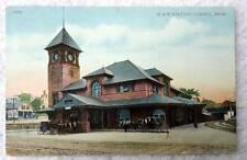 1913 POSTCARD B & M RAILROAD TRAIN STATION DEPOT LOWELL MA #W9