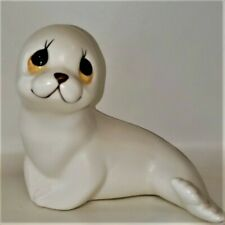 """Oxford White Porcelain Seal Figurines Made In Mexico 3.25"""""""
