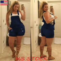 Plus Size Womens Jeans Denim Bibs Overalls Skinny Jumpsuit Playsuit Shorts L-5XL
