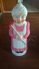 Vintage Union blow mold Mrs Santa Claus Christmas Decoration Pink Lady Rake