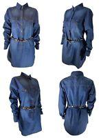NEW Womens Denim Shirt Dress Ladies Jean Dresses Long Sleeve Size 8 10 12 14