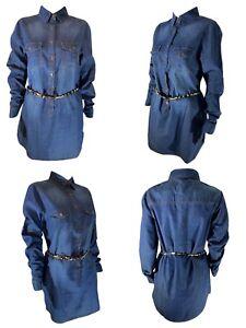S/L/XL New Women Blue Denim Shirt Ladies Jean Top Button up Dresses Long Sleeves