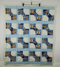 """Vintage 80's Scooby Doo Blue Handmade Baby Quilt Blanket 37"""" x 45"""""""