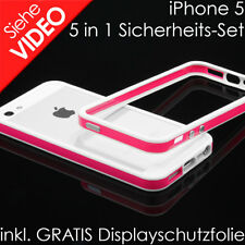 Apple iPhone 5 5s SE TPU Bumper Silikon Case Schutz Hülle Cover weiß pink