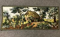 """Vintage 46"""" Handwoven Thatch Roof Forest Cottage Sunflower Tapestry Table Runner"""