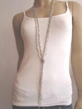 Damen Hals Kette Modekette Bettelkette Modeschmuck lang Silber Mehrreihig Bling