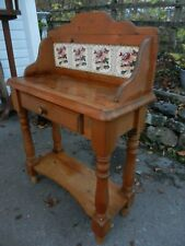 SOLID PINE SMALL WASHSTAND WITH TILED BACK - GOOD CONDITION