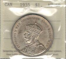 1935 Silver Dollar ICCS AU-50 Beauty HIGH Grade King George V 1st Canada $1.00