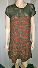 Denim & Supply Ralph Lauren Small black and red rose print above knee dress, NWT