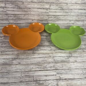 Authentic Disney Mickey Mouse Head Shaped  Food Plate In Orange and Green