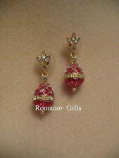 Russian Empress Alexandra Enameled Ruby Red Egg Earrings (Posts)