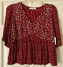 NWT Arizona Jeans Red/Maroon  Flower/Boho 3/4 Sleeve, V-Neck, Ruffle Crop Top XS