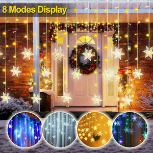 LED Snowflake Curtain Fairy Lights String 8 Modes Christmas Party Window Decor