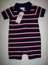 Ralph Lauren Romper Shortall Layette Navy Striped 6 Mos Logo Cotton New