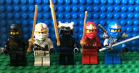Lego Ninjago Lot of 5 Minifigures Jay, Cole, Zane, Kai, Lord Garmadon Katanas