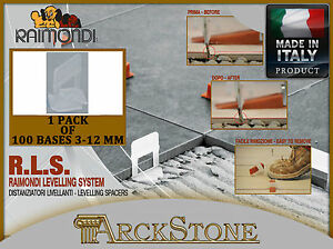 ARCKSTONE Pack 100 bases 3-12mm tile floor coating Raimondi Levelling System RLS