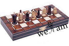 WOODEN MEDIUM HAND CRAFTED CHESS -WOOD -SET - BROWN