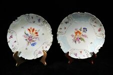 6 Weimar Scalloped  & Moulded Plates Floral and Insect Motif