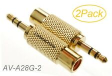 2-Pack 3.5mm Stereo TRS Male Plug to RCA Female Jack Audio Adapters, AD-A28G-2