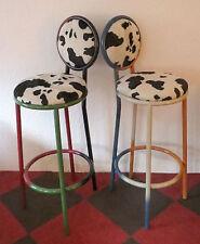 2x Barhocker Retro Design *Einzelstücke* Pulverbeschichtet mit Kuhfell Hocker