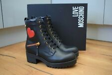 LOVE MOSCHINO LM Black Heart Lace Up Heeled Boots side ZIP UK 6 EU 39 US 8 RARE