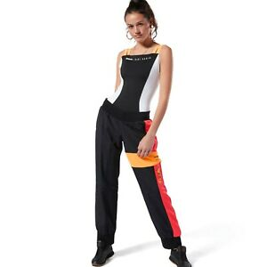 Reebok Womens Gigi Hadid Track Pants Black Color Block Active Wear DY9375