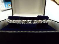 New Ladies Solid Sterling Silver.925 Byzantine Bracelet 17 grams