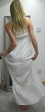 NEW women white crochet back maxi dress summer holiday 12 UK 40 E