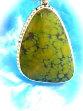STERLING SILVER minedc GREEN NATURAL TURQUOISE LARGE PENDANT