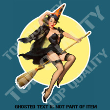 PIN UP GIRL WITCH Decal Sticker for Mancave Hot Rod Retro Vintage USA Stickers
