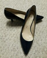 Gorgeous ANNE KLEIN Dark Navy Patent LEATHER CLASSIC Heel Shoes Women Size 6.5 M