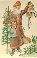 Postcard Wishing You A Merry Christmas, Santa with Tree and Bag