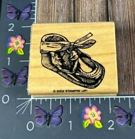 Stampin Up! Baby Infant Shoe Rubber Stamp 2002 Wood Mount Shower #H115