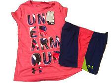 Girls Under Armour Short Sleeve Shirt L NWT & Athletic Shorts Size Large