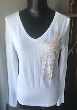 VERSACE JEANS LONG SLEEVE WHITE SHIRT SIZE 42/6 WITH GOLD  RINESTONES