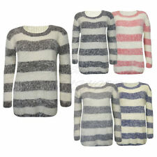 Hip Length Cotton None Striped Jumpers & Cardigans for Women