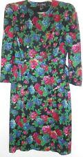 ESCADA Dress Size 10 40 Black Red Blue Greren  Wool Peplum Flowers 1980s Vintage