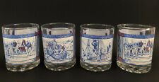 Vintage 4 Bicentennial Barware Old Fashion/ Rocks Glasses Red, White, & Blue