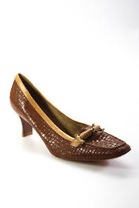 Stuart Weitzman Womens Leather Almond Toe Block Heel Pumps Brown Size 9M