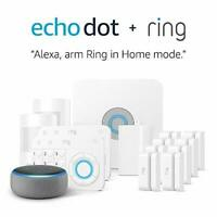 Alexa Ring Home Security Kit or 15Pc Kit w/ Echo Dot (3rd Gen), Works With Alexa