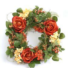 Blumenkranz Wandkranz Rosen Roses Wreath orange Ø 31
