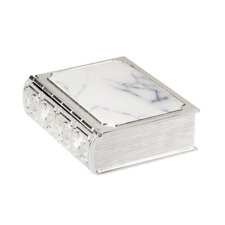 NEW SILVER PLATED TRINKET BOX BIBLE MARBLE LOOK 9X7X2.5CM