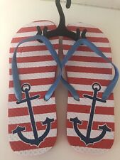 "Women's Red & White Striped ""Anchors Away"" Rubber Flip Flops Size S 5/6 - NEW"