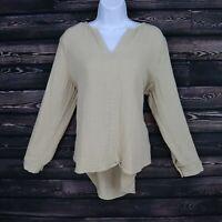 Soft Surroundings Top Shirt Womens Size PL Brown Beige 100% Cotton V-Neck SOFT