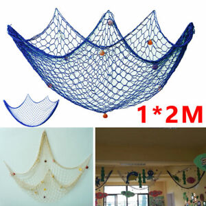 Fishing Net Decor Mediterranean Party Nautical Decorative Beige/Blue Beach DIY