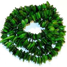 """MP2378p Green 8mm - 15mm Flat Chip Mother of Pearl Gemstone Shell Beads 30"""""""