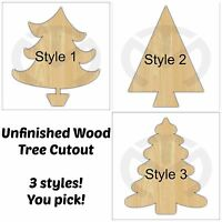 Unfinished Wood Christmas Tree Laser Cutout, Door Hanger, Paint Ready, 3 styles