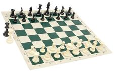 "Black & White Chess Pieces & 20"" Green Vinyl Board - Single Weighted Chess Set"