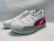 Puma Clyde JR Hardwood White/Pink Basketball Shoes Size US-C7 193847-03